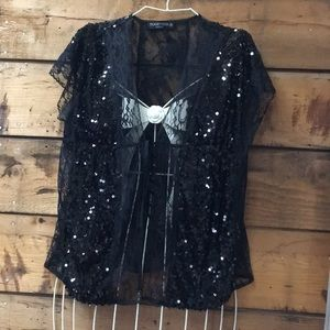 Pretty Black Lace Sequin Top by Together Size Med